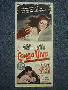 CONGO-VIVO-Rare-Original-1960s-Aussie-Daybill-Movie-Poster-Jean-Seberg