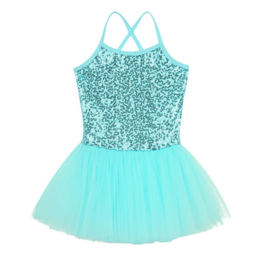 Kid Girl Ballet Dancer Dress Gymnastics Sequins Leotard Tutu Ballerina Dancewear