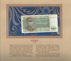 Most-Treasured-Banknotes-Burma-1972-1-Kyat-P-56-UNC-Prefix-FW