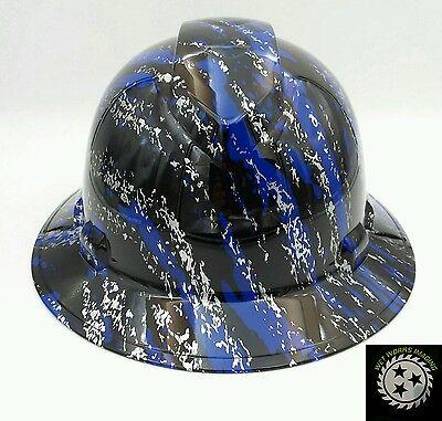 OSHA approved Hard Hat custom hydro dipped BLUE HEAR NO SEE NO EVIL SKULL