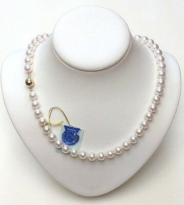AAA 8-8.5MM Japanese Akoya Cultured Pearl Strand Necklace 14K Diamond Clasp 16""