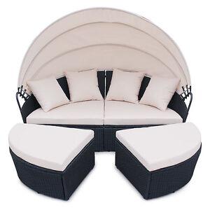 Polyrattan garten lounge gartenset schwarz garnitur gartenm bel sonneninsel ebay - Polyrattan lounge gartenset ...
