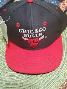VINTAGE Chicago Bulls Hat Black Red Snap Back NBA Basketball Signed Auto?