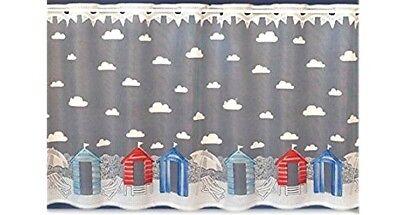 "Sandbanks-Beach Hut Design-Cafe Net Curtain-12/"" or 18/"" Drops-Cut Width"