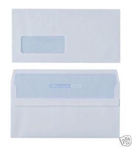 1000 x DL Plain White Business Envelopes 80gsm Self Seal Window 2017260 8717868029778