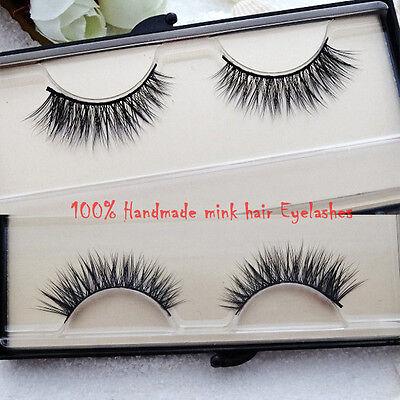 1P Handmade Makeup Mink Hair Nature Daily Cross False Eyelashes Eye End Extended