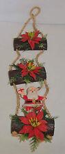 Vtg Plastic Santa Claus Poinsettia Rope Ladder Ornament Wall X-Mass Decoration