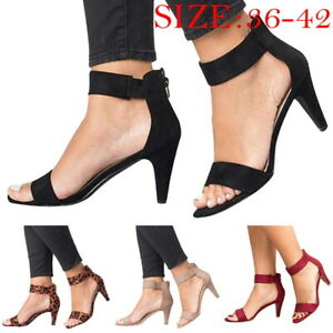 Womens-Ladies-Sandals-Mid-Block-Wedge-Heels-Summer-Party-Ankle-Strap-Shoes-Size