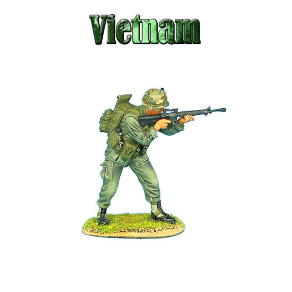 VN005 US 25th Infantry Division Standing Firing M-16 by First Legion