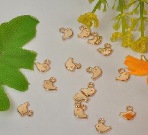 50pcs Tibetan silver bird antique gold charm beads pendant 8mm E3441