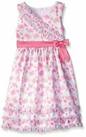 American Princess White Pink Rose Bow Ruffle Bodice Shantung Party Dress 2t