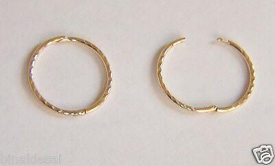 9ct GOLD 15mm DIAMOND CUT HINGED HOOP Sleeper Earrings PAIR B'day X'Mas GIFT BOX