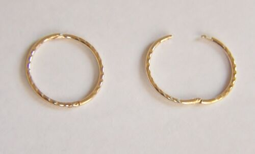9ct 15mm Oro Diamante Corte Con Bisagras Par de Pendientes De Aro Sleeper B /'day Mamá/'S Caja De Regalo