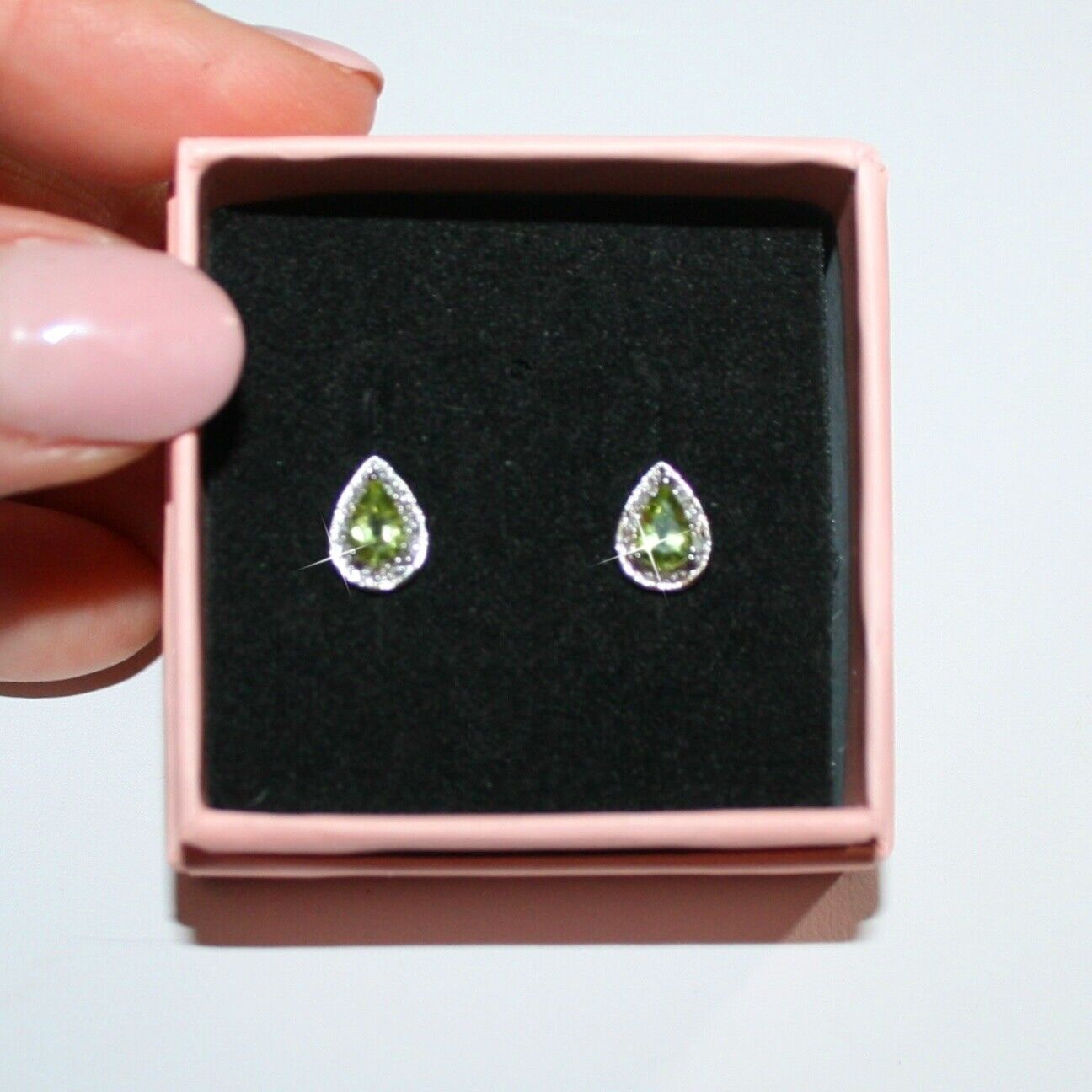 Pear Genuine Peridot with 20 Diamonds Stud Earrings White 14k gold over 925 SS