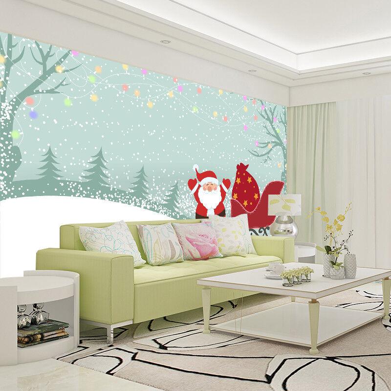 3D Santa Claus Tree Snow9 Wallpaper Murals Wall Print Wallpaper Mural AJ WALL AU