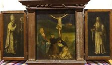 Large 16th Century Northern European Old Master Triptych Crucifixion Painting