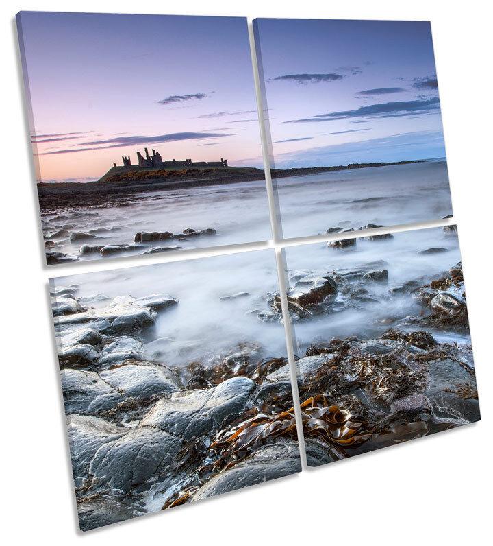 Sunset MULTI Dunstanburgh Castillo MULTI Sunset LONA pa rojo  arte Foto Cuadrado 0231d3