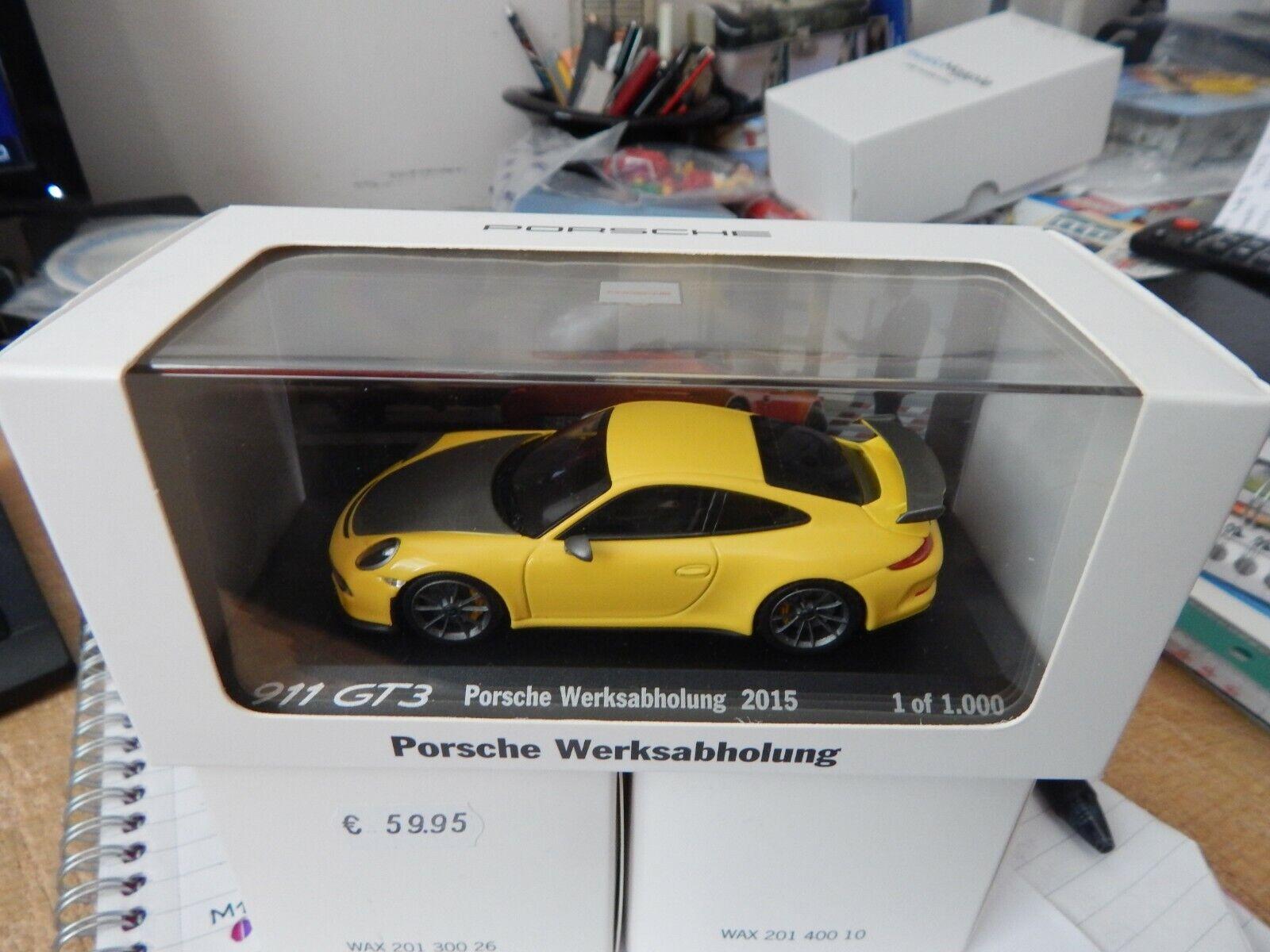 PORSCHE Dealer Minichamps 1 43 911 GT3  Factory'15 WAX20130022 jaune  bas prix
