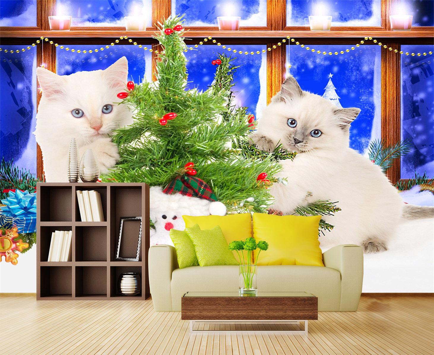 3D Weiß Cat Christmas Tree 344 Wall Paper Wall Print Decal Wall AJ WALLPAPER CA