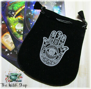 HAMSA-HAND-Black-Velvet-Pouch-5-034-x4-034-Drawstring-Bag-Wicca-Witch-Tarot-Jewelry