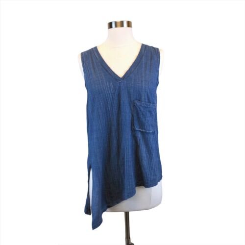 Cloth & Stone Sz M Asymmetrical Tank Top Blue Cham