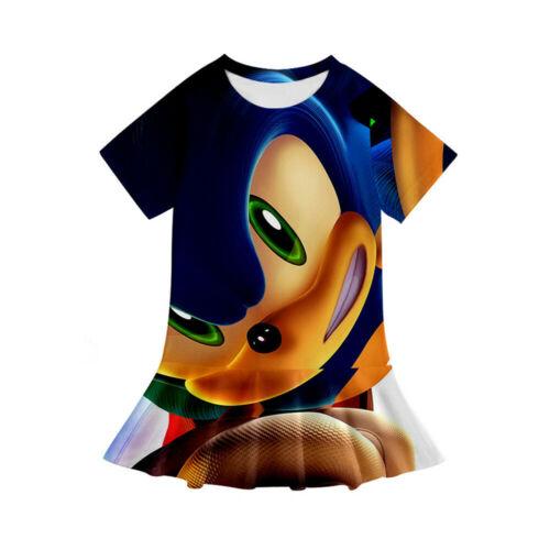 Kids Summer Sonic the Hedgehog Amine 3D Printed Dress for Girls Cartoon Clothing