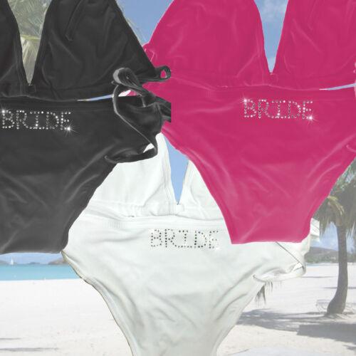 Personalizzata Sposa Matrimonio Bikini Signora Diamante Da Spiaggia STRASS appena sposato