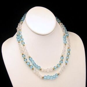 MONET-Vintage-Long-Necklace-36-inches-Pretty-Aqua-Blue-Glass-Beads-Faux-Crystals