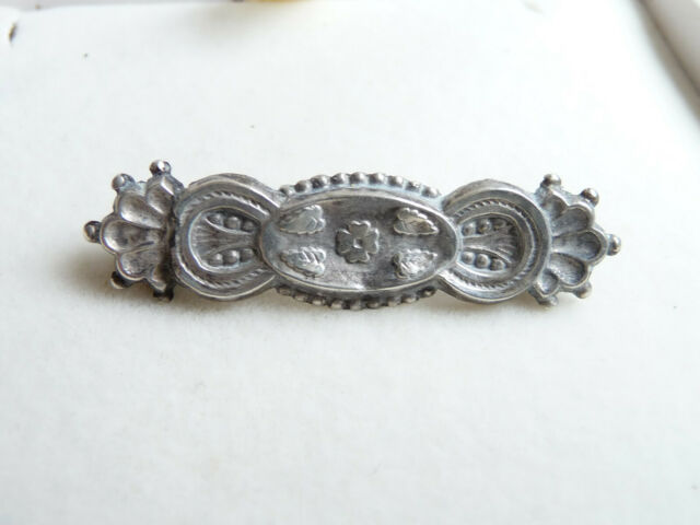 Antique Victorian Hall Marked Sterling Silver Floral Bar Brooch Birmingham 1900