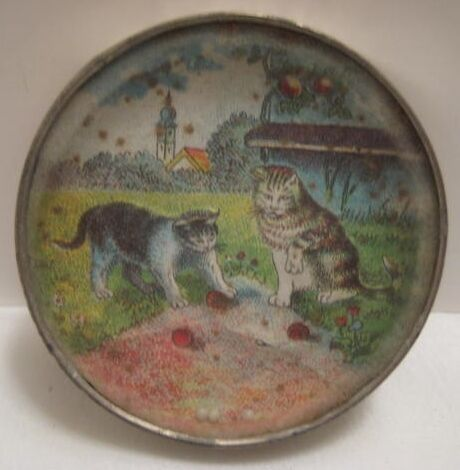Old 1920s Tin Dexterity Puzzle - 2 Cats Playing - Nice
