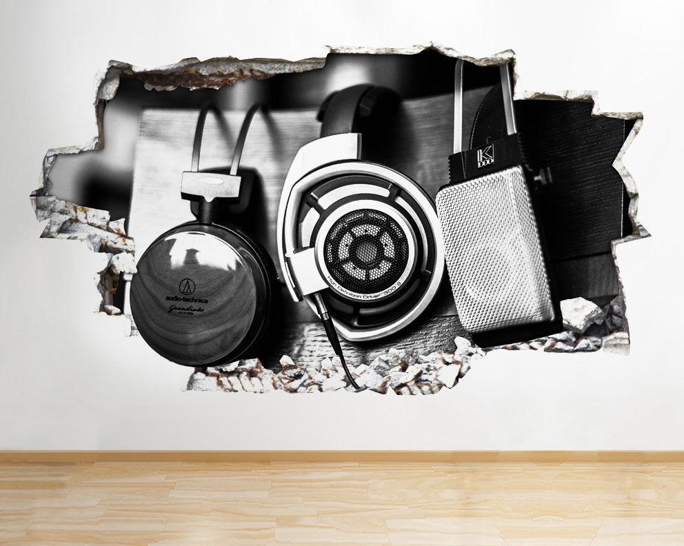 Q084 Musique Casque cool studio Smashed mu Autocollant Chambre 3D Vinyle enfants
