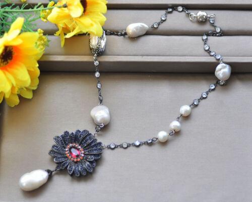 "P7194 20/"" Sapphire Flower White Baroque KESHI pearl Necklace Pendant"