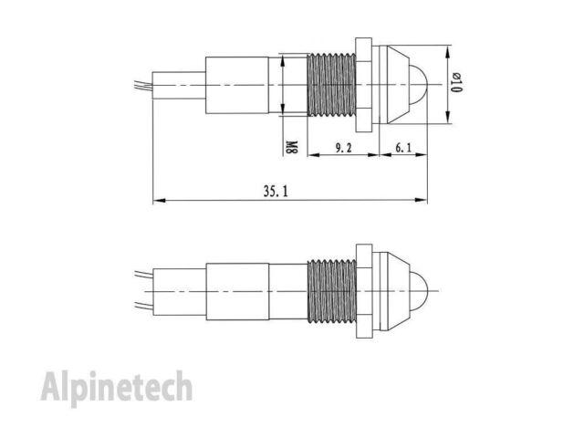 PL8B-R ATI 8mm 12V Red LED Metal Indicator Pilot Dash Light Lamp Wire Leads