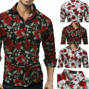 Contton-Men-039-s-Slim-Fit-Floral-Printed-T-Shirts-Luxury-Long-Sleeve-Tops-Tee-Shirt