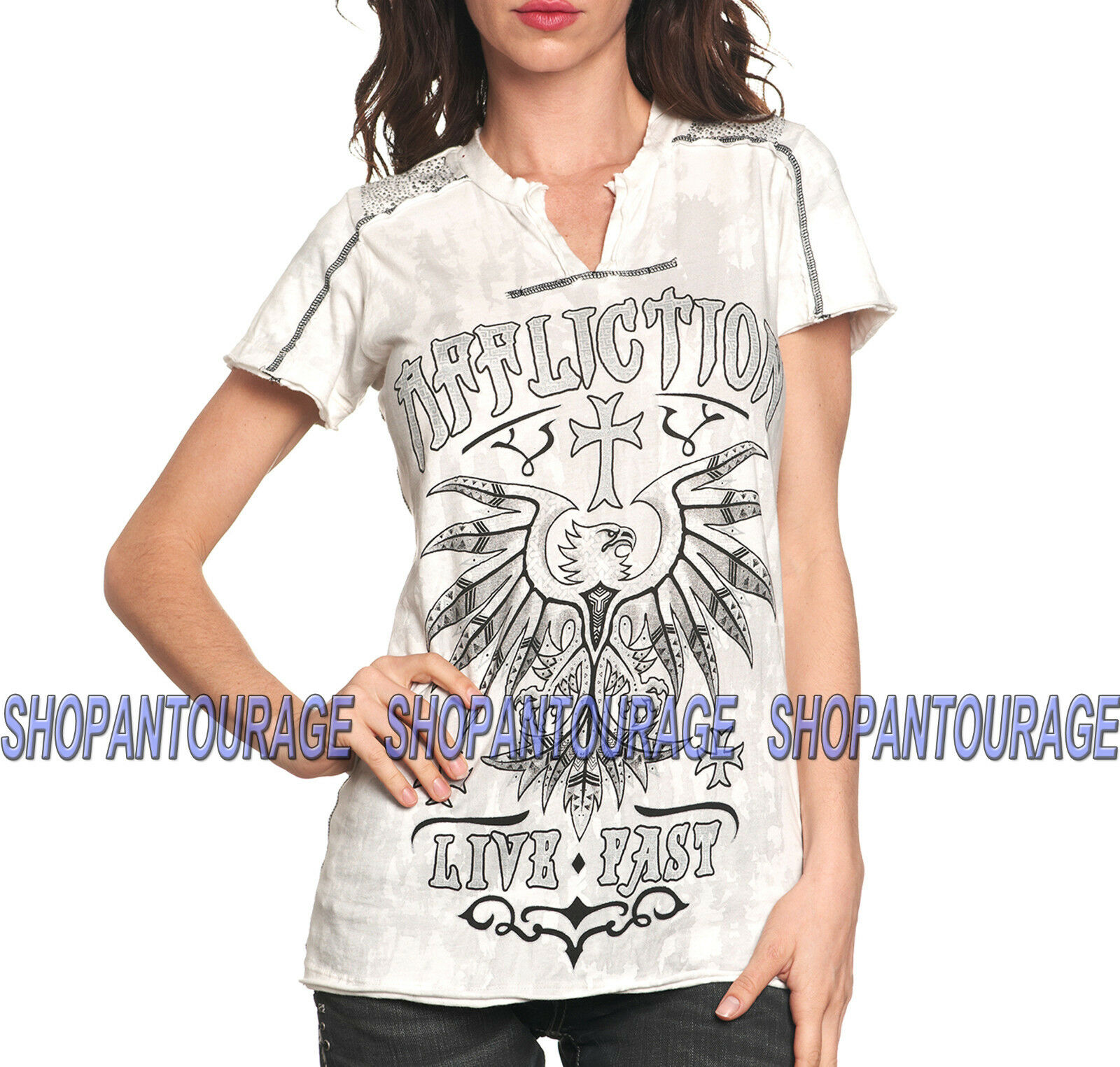 AFFLICTION Kratos AW9903 New damen`s Short Sleeve T-shirt Dirty Weiß