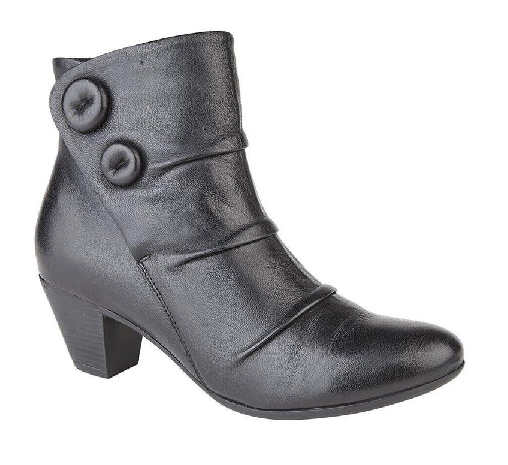 Womens Fashion Leather Boots gerüscht Vamp Inner Zip Button
