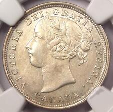 1858 Canada Victoria Twenty Cent Piece (20C Coin) - Certified NGC AU58 - Rare!