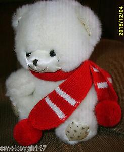 "WALLACE BERRIE 7"" tall White TEDDY BEAR Plush Stuffed Animal, Applause 1986"