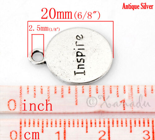 Believe Inspire Wholesale Silver Plated Charm Pendants C1150-10 20 Or 50PCs