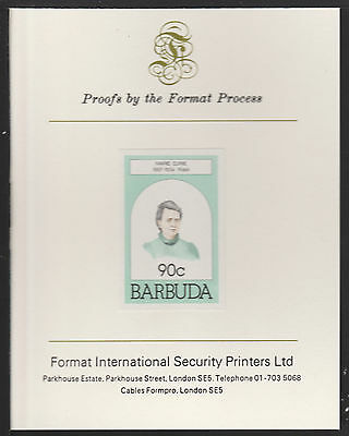 Barbuda (629) 1981 Marie Curie 90c Imperf On Format International Proof Card