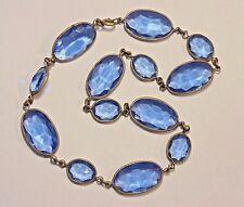 Vintage Art Deco Brass Tone Bezel Set Blue Glass Cabochon Necklace 1930's