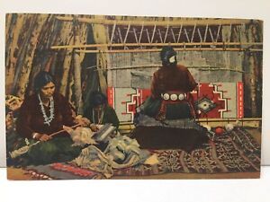 New Mexico Indian Women Making Weaving Navajo Rugs