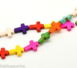 6Strang-Tuerkis-Howlith-Kreuz-Perlen-Beads-16x12mm