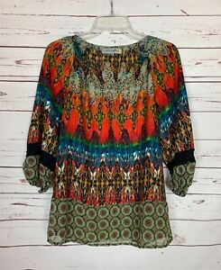 Figueroa & Flower Anthropologie Women's M Medium Red Boho Cute Spring Top Blouse