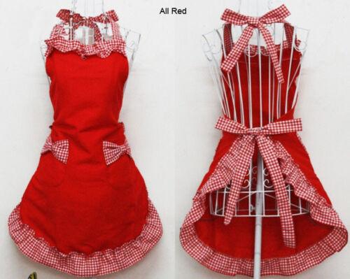 Free Shipping Cute Vintage Flirty Womens Bowknot Kitchen Bib Apron Dress Gift