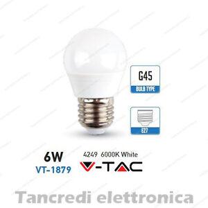 Lampadina-led-V-TAC-6W-40W-E27-bianco-freddo-6000K-VT-1879-miniglobo-G45-bulbo