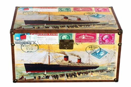 Truhe Kiste SJ07515 Dampfschiff Postkarte Hafen Holztruhe mit Kunstleder bezogen
