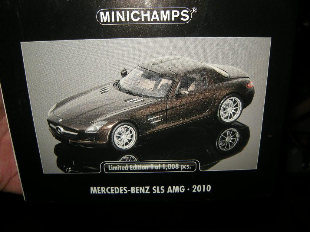 1 18 Minichamps Mercedes-Benz SLS AMG 2010 marron MARRON Nº 100039028 in neuf dans sa boîte