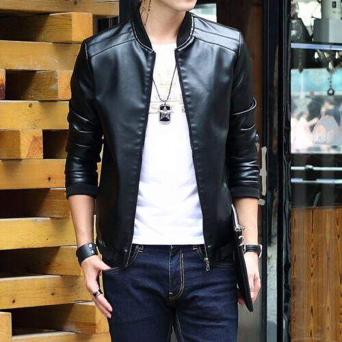 Leisure Men/'s Leather Jacket Biker Motorcycle Coat Slim Fit Outwear Jackets TOP