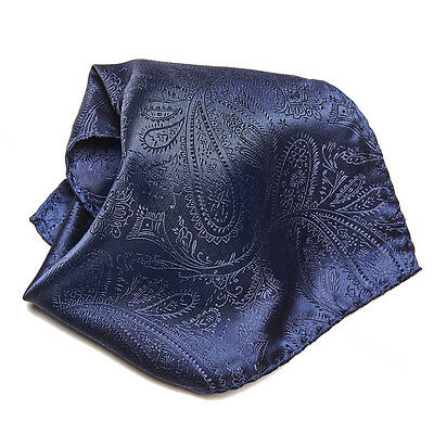Navy Blue Paisley Design Men's Hankerchief Pocket Square Hanky